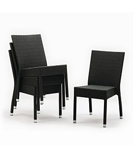 Bolero Wicker Side Chairs Charcoal (Pack of 4)